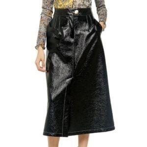 NWT Topshop A-line vinyl midi skirt, size US 2